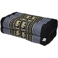 Thaikissen Kapok Bodenkissen Dreieckskissen Nackenkissen Liegematte Sitzkissen LOUNGE ***blau-grau schwarz mit Elefanten*** Verschiedene Modelle und Größen erhältlich ***HANDMADE*** (Nackenkissen Meditation (81304))