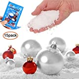 Aolvo Fake Snow, Artificial Magic Instant Fluffy Snow Powder Simulación Nieve Super Absorbente Hogar Adorno Fiesta Decoración para Navidad Boda Festival Niños, 15 PCS