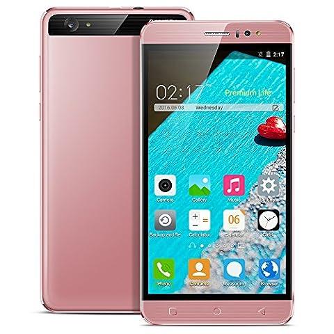 Padgene® K800 Smartphone Débloqué 3G 8Go + 1 Go 6.0 Pouces Ecran 1.3 GHz Quad Core Android 5.1 Double SIM GPS WIFI Bluetooth pour plupart Opérateur Européen, Rose