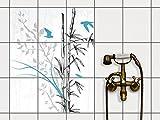 Fliesendekoration Dekorationssticker | Fliesen-Folie Sticker Aufkleber selbstklebend Badezimmer renovieren Küche Wall Art | 20x25 cm Design Motiv Bamboo 1 - 9 Stück