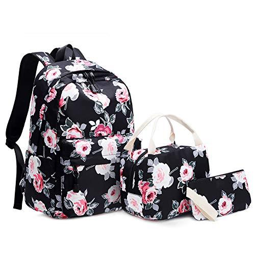 JBAG-one Canvas Rucksack für Mädchen, Schulrucksäcke Bedrucken, Kids Bookbags mit Lunch-Einkaufstasche, Federmäppchen, leichte Reisetaschen-Sets,Schwarz