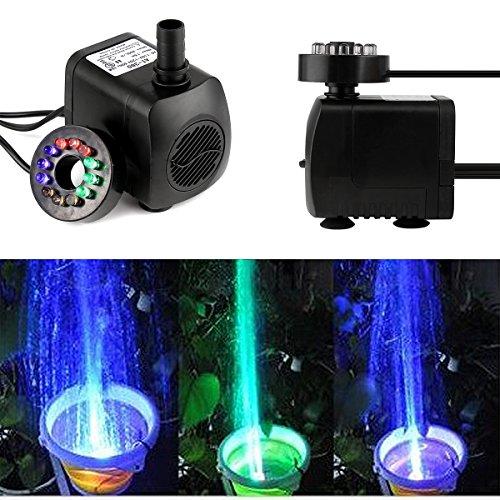 SOONHUA Tauchwasserpumpe Unterwasser Wasserspielpumpe Wasser Pumpen Garten Tauchpumpen Brunnen Gartenteich Springbrunnen Pumpe mit bunten LED Licht Beleuchtung (Pattern 2)