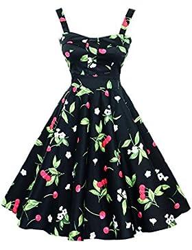 Botomi Women 's vintage años 50 Hepburn Classique cereza vestido patrón swing Brace, 15.S Black, XXX-Large
