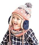 Chilsuessy 2tlg Kindermütze Winter Strickmütze Schneemütze Pudelmütze mit Schal Strickloop,Kinder Sturmhaube,Fleece Mütze, Ski Maske Halswärmer, Pink, 52cm