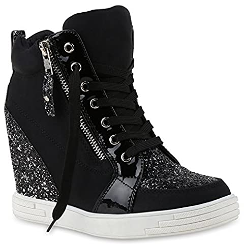 Damen Sneaker-Wedges Sneakers Pailletten Sport Keilabsatz Zipper Ketten Schnürer High Top Wedge Sneaker Schuhe 129115 Schwarz 40 |