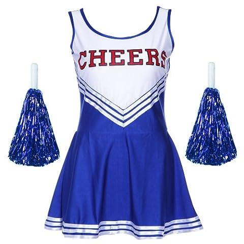 Robe Jupe Deguisement Costume avec Pom Pom Girl Cheerleaders Sport Bleu L (38-40)