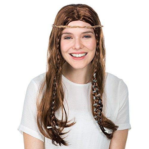 Perücke mit 4 Zöpfen und Perlen + Knochen | Steinzeit Neandertaler Fasching Höhlenfrau (Hipster Kostüm Ideen)