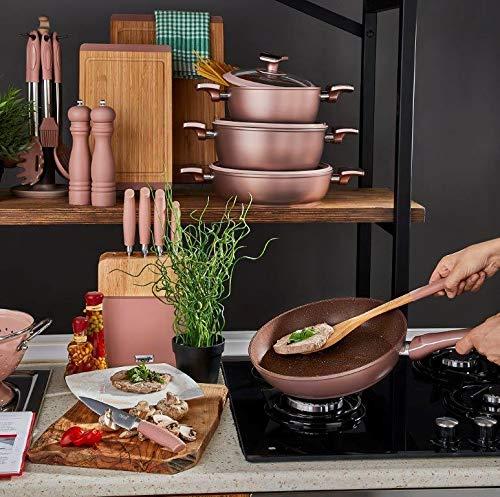 neva Granittopf Set 7tlg. mit Soft Touch | rose-chocolate | Topf Set | Granit Topf | Kochtöpfe | Töpfe