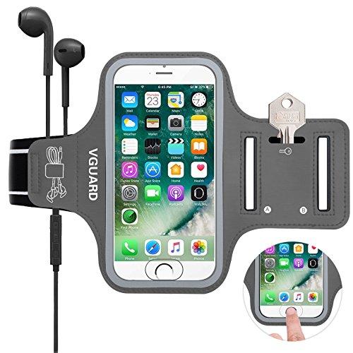VGUARD Schweißfest Sport Armband für iPhone 8 7 6S 6 [ID Touch Kompatibel] [LEBENSLANGE GEWÄHRLEISTUNG] - Handytasche Sport / Sportarmband Hülle / Handy Armband mit Schlüsselhalter, Kabelfach, Kartenhalter und Reflekltierendes Band für Laufen / Wandern / Rad Fahren / Gymnastik Fitness Sweatproof Armband für iPhone 8/7/6/6S,Samsung Galaxy S7/S6/S5/S4,iPhone 5/5S/SE, Huawei, ASUS, LG, Motorola und weitere Smartphone bis zu 5,1 Zoll Bildschirm - Grau