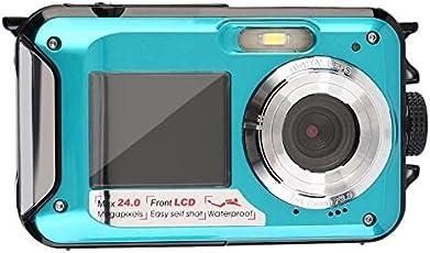 Digitalkamera Wasserdicht Blau, Unterwasser Kamera Shockproof Digital Kompakt digitale Videokamera Full HD 1080p, 24 Megapixel, 2,7 Zoll, w / Dual farbenreiche LCD-Anzeigen Dual-Display, 16-fach Zoom Digital-Summen-Kamerarecorder DVR DV Videogerät, Wasserdicht Bis 3M