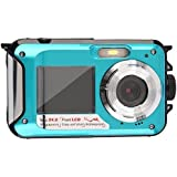 Digitalkamera Wasserdicht Blau, 3M Unterwasser Kamera Shockproof Digital Kompakt digitale Videokamera Full HD 1080p, 24 Megapixel, 2,7 Zoll, Dual LCD Dual-Display, 16 Zoom Summen Kamerarecorder