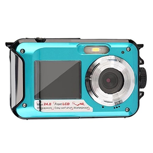 Bajo el agua a prueba de golpes 24 Megapíxeles cámara digital Impermeable Videocámara w / pantalla LCD de dos colores, 2.7inch TFT digital resistente al agua de doble pantalla Full HD 1080P 16x dispositivo de vídeo digital zoom de la cámara DVR DV, Turquesa