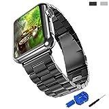 Apple Watch Band,IIMII Edelstahl Armband Steel Handgelenk Band Link Armband Mit Connector Apple Uhrenarmband für Apple Watch 42mm Schwarz