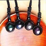 Schneespitze 4 Piezas Obsidiana Natural Colgante Piedra Natural Collar de Piedras Preciosas 16 mm Ajustable Conjunto para Hombre y Mujer
