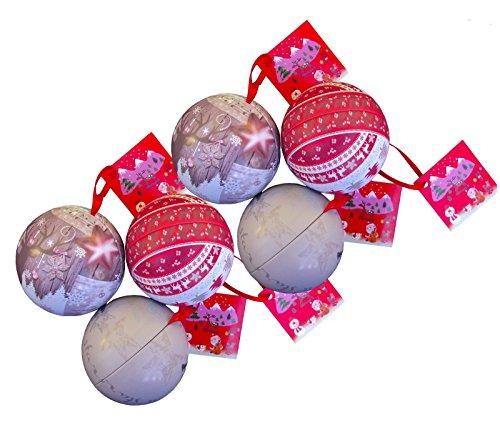 6 Stück Weihnachtskugel zum befüllen aus Metall Ø ca. 7cm incl. Schnellaufhänger