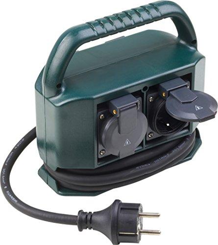Meister Stromverteiler 4-fach - 2 m Kabel - Gummischlauchleitung - IP44 Außenbereich / Verteilersteckdose / Feuchtraum-Steckdosenverteiler / Außensteckdose / Outdoor Steckdosen-Block / 7430960