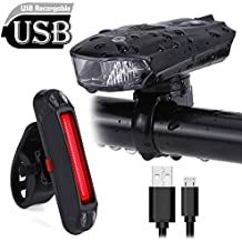 Conjunto Luces LED Bicicleta USB Recargable – Slopehill Impermeable Set Luz de Delantera Bicicleta (400 LM ,5 Modos , Sensor Inteligente ) y Luz Trasera (100 LM, 6 Modos,Instalación Fácil) Faro Foco Luz para Seguridad Ciclismo Bicicleta de Carretera o Montaña