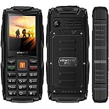 VKworld Stone V3 la más nueva versión IP68 impermeable a prueba de choques a prueba de polvo Teléfono celular al aire libre teléfono móvil Tri-sim teléfono para mayor Senior batería grande tiempo de espera con luces LED más extra de 8 GB de tarjeta de memoria, negro