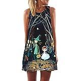 DAYLIN Vintage Large Size Boho Women Summer Sleeveless Beach Printed Short Mini Dress (L, Black1)