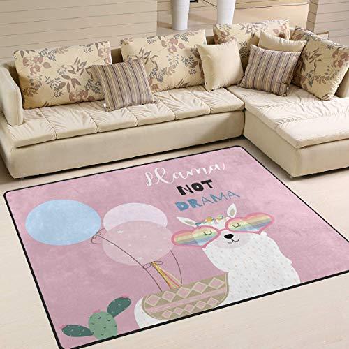 Area Rug 63x48 Zoll Cartoon Alpaka Lama mit Brille Ballon Kaktus für Wohnzimmer Schlafzimmer