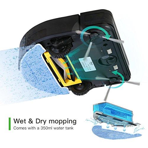 Dibea Staubsauger Roboter mit Wischfunktion Saug-und Wischroboter Wassertank Mop, 2600mAh Akku 2 Stu. Laufzeit, Automatische Aufladung, Hartboden/Teppich Allergiker Tierhaare D960 - 3