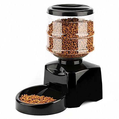 GPF Automatische Futterautomat/5.5L Futterautomat Dispenser mit Diktiergerät und Timer Programmierbar/3-4 Mahlzeit Pro Tag Für Hunde und Katzen Wasserspender, LCD-Panel