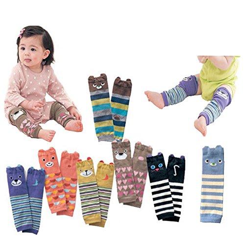 HLSL ® Lot de 6 coton peigné Ours Cartoon bébé genouillères unisexe Leg Protector rampants chaudes Pads Manchettes beau modèle de fille