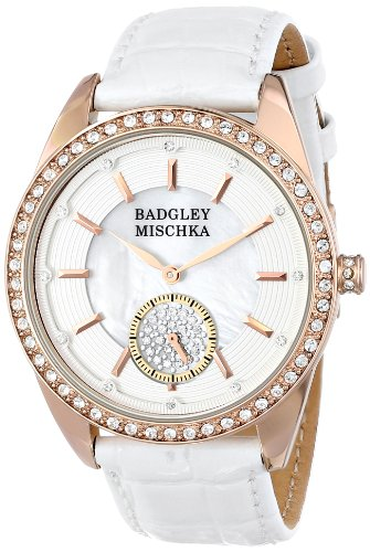 badgley-mischka-womens-ba-1316wmrg-swarovski-crystal-accented-rose-gold-tone-white-leather-strap-wat