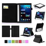 ISIN Housse pour Tablette Série Étui Premium PU avec Support pour Lenovo Yoga Tablet 2 YT2-830 et Tab 3 YT3-850 de 8.0 pouces Tablette Avec Sangle Velcro et Slot Cartes (Noir)