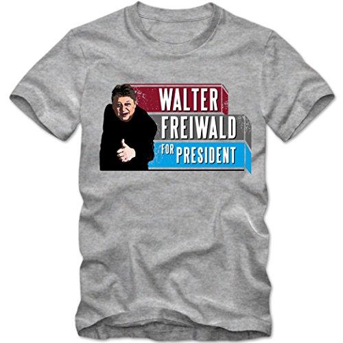 Walter freiwald For President T-Shirt  Dschungelcamp   Bundespräsident   Fanshirt  #Ibes   Tee, Farbe:Graumeliert (Grey Melange);Größe:XXL