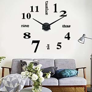 schwarze riesen designer wanduhr dekoration wandtatoo xxl 3d aus acryl. Black Bedroom Furniture Sets. Home Design Ideas