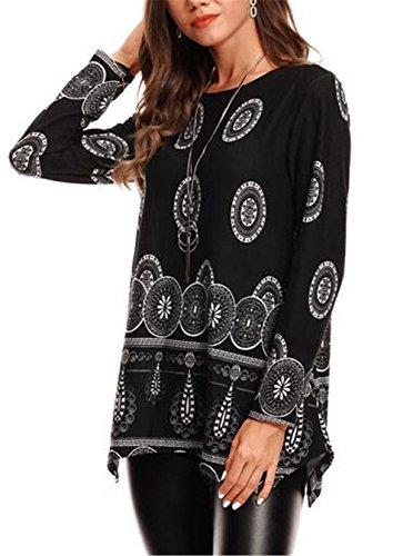AILIENT Donna Moda T-Shirt Stampa Fantasia Manica Lunga Allentata Casuale Camicetta Maglietta Lungo Casual Tops Autunno Invernale Black