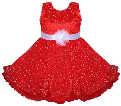 BENKILS Cute Fashion Baby Girl's Dew Drop Party Wear Frock Dress for (Red, 6-12 Months)