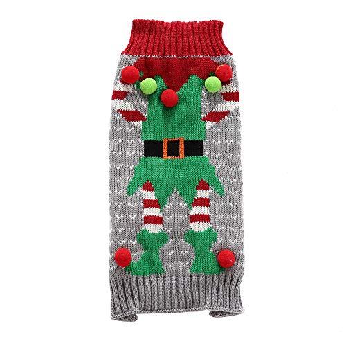 Yzibei Pullover Hund Haustier Hund Weihnachten Pullover Haustier Haar Ball Clown Pullover Kleidung für Hunde (Farbe : Grau, Größe : ()