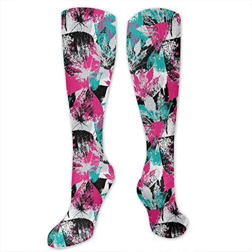 Earth Boost (Unisex Highly Elastic Comfortable Knee High Length Tube Socks,Abstract Leaves With Various Designs Nature Ornamental Blossoming Earth,Compression Socks Boost Stamina,Hot Pink Seafoam Black)