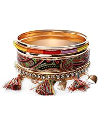 Shining Diva Fashion Colorful Bohemian Gold Plated Stylish Bracelet Bangles For Women And Girls