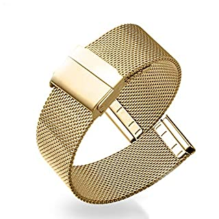 Stainless Steel Strap Metal Bracelet Waterproof Bracelet Breathable Bracelet 12-22mm Available 4 Colors Optional (19mm, Golden Yellow (Double Buckle))