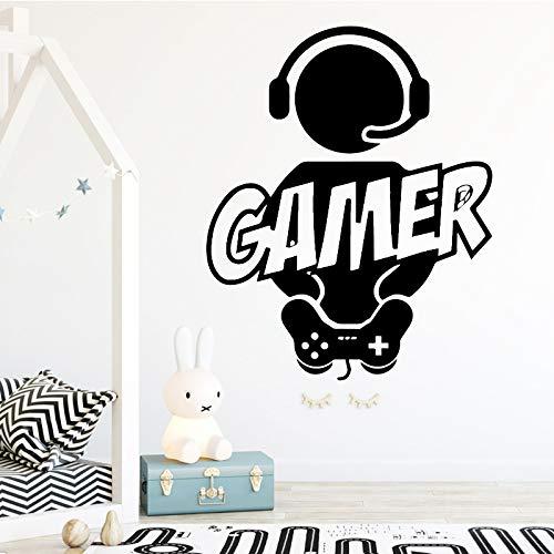 Geschnitzte Gamer Wandaufkleber Vinyl Tapete Für Kinderzimmer Dekoration Aufkleber Jungen Gaming Poster Decor Tür Aufkleber Gold L 43 cm X 53 cm -