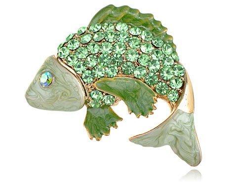 Alilang Peridoto verde de cristal moda Rhinestone saltando carpa peces Koi Pin broche