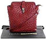 Italian Leather Hand Made Small Mid Brown Ostrich Effect Front Clasp Cross Body Shoulder Bag Handbag. Includes a Branded Protective Storage Bag.