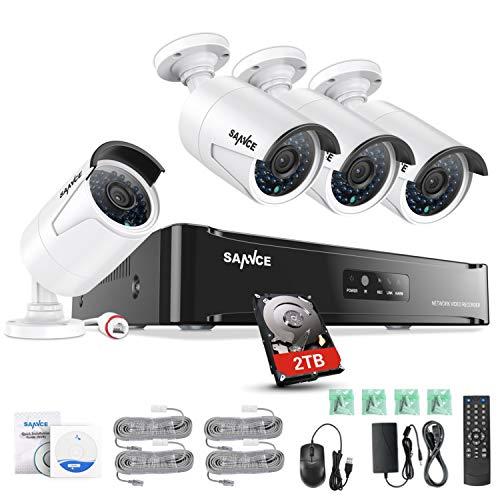 SANNCE 1080P 4Kanal POE Überwachungskamera Set, CCTV Videoüberwachung System mit drahtlosen 4X 2.0MP 1080P IP Kameras für Haus Innen Außen Bereich mit Nachtsicht-Funktion, 2TB HDD und Fernzugriff