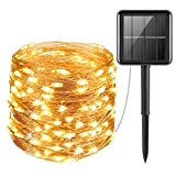 Criacr Solar Lights Outdoor, (100 LED 2 Modes) Solar Garden Lights, 33ft/10m Copper Wire Solar String Lights, Auto on off, Waterproof for Patio, Garden, Home, Wedding, Pathway, Party (Warm White)