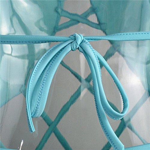 Vandot hot sexy Bikini, Estate Collo V in profondita costume da bagno, comodamente tessuto one-piece cinghia design Midriff-baring tops backless Sea holiday colore luminoso swimwear Style1 Blu