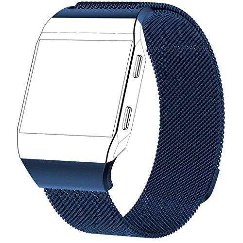 TPulling Fitbit Lonic Milaneth Magnetband (groß) Armband Neuer Magnetverschluss Milanese Loop Edelstahl Ersatzband (blau)