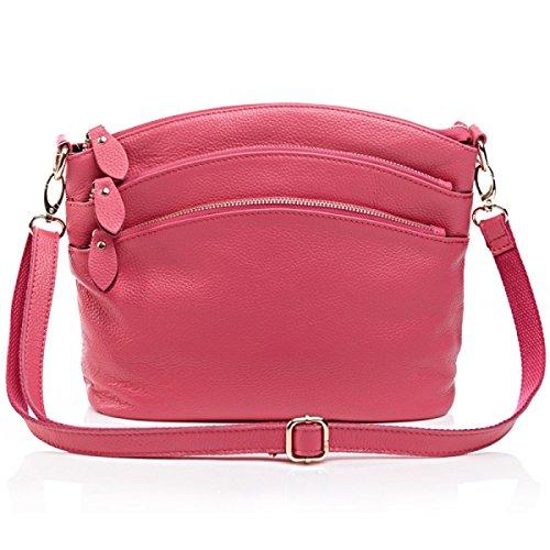 Nuovo Multi-pocket In Pelle Crossbody Messaggero Spalla Sacchetto Per Le Donne Red