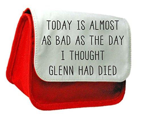 Oggi è quasi come Bad il giorno, ho pensato di Glenn erano deceduti Zombie Walking Dead Living parodia Astuccio o Make Up Clutch Bag Misura unica rosso
