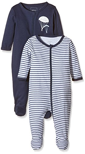 NAME IT Baby-Jungen NITNIGHTSUIT ZIP W/F NB B NOOS Schlafstrampler, Mehrfarbig (Dress Blues), 62 (2erPack)