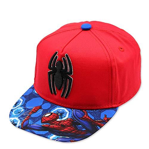 Spiderman - Gorra con Visera Plana, Estilo Hip Hop, con Holograma y Bordado 3D, Factor de protección UV30, de Marvel de Disney - Rojo - 56 cm
