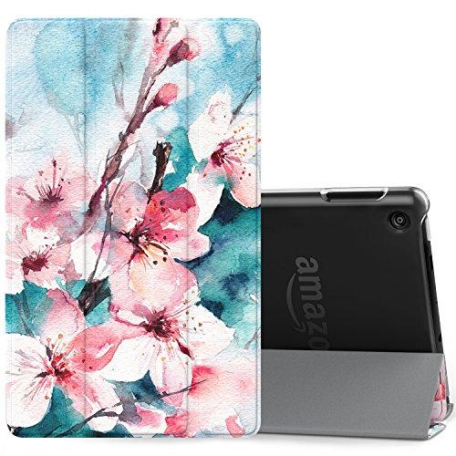 MoKo Hülle für Amazon Fire 7 Tablet (7 Zoll - 7. Generation, 2017 Modell) - Slim Lightweight Schutzhülle Cover Case mit Rückseite Schutzhülle und Auto Schlaf / Wach für das Fire 7 2017, Pfirsichblüte