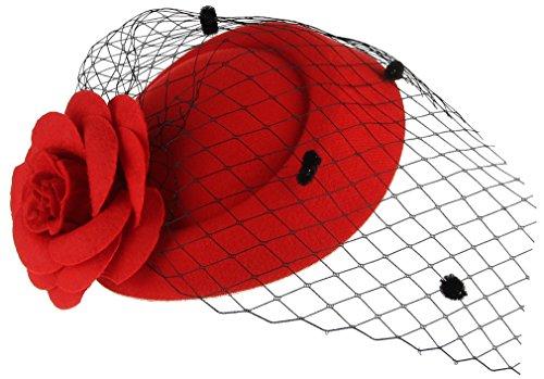 Kostüm Jockey Weibliche - DEMU Fascinator Hut Blume Damen Tea Party Headwear Cocktail Haarschmuck Minihut Vintage Rot